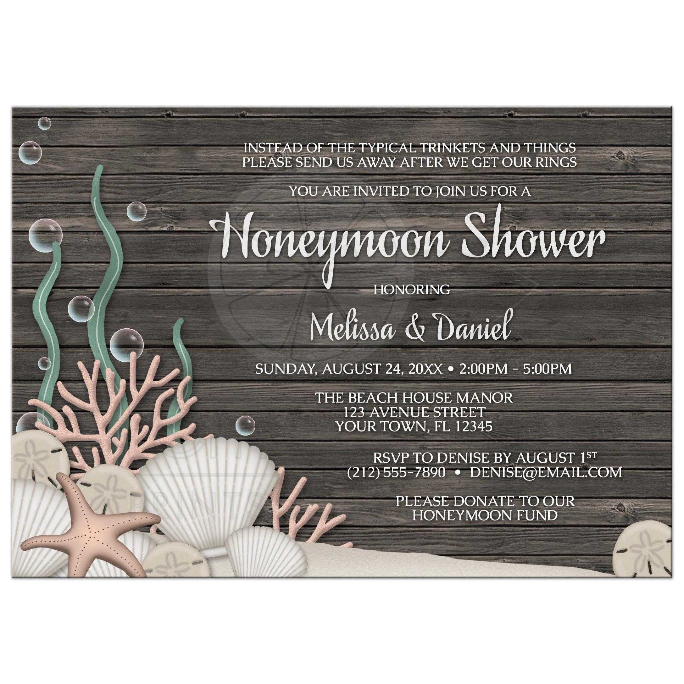 Honeymoon Shower Invitations Rustic Beach And Wood