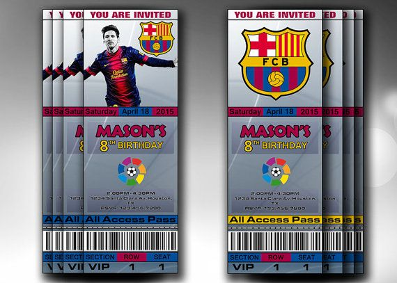 barcelona fc birthday invitations