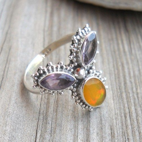 925 Sterling Silver Ethiopian Opal Amethyst Ring   pavlos - Jewelry on ArtFire
