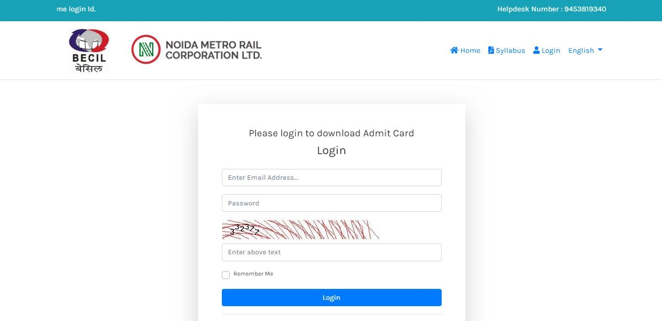 Noida Metro Admit Card 2019 For Je Customer Relations Assistant