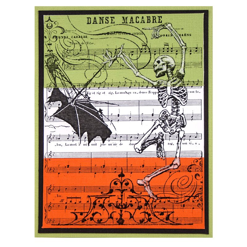 Danse Macabre Rubber Stamp Halloween cards, Halloween