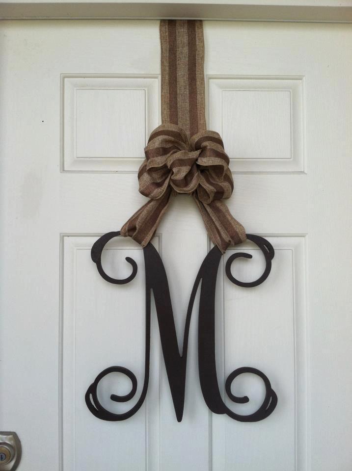 Wooden Monogram Monogram Door Hanger Wooden Initials Initial Door Hanger