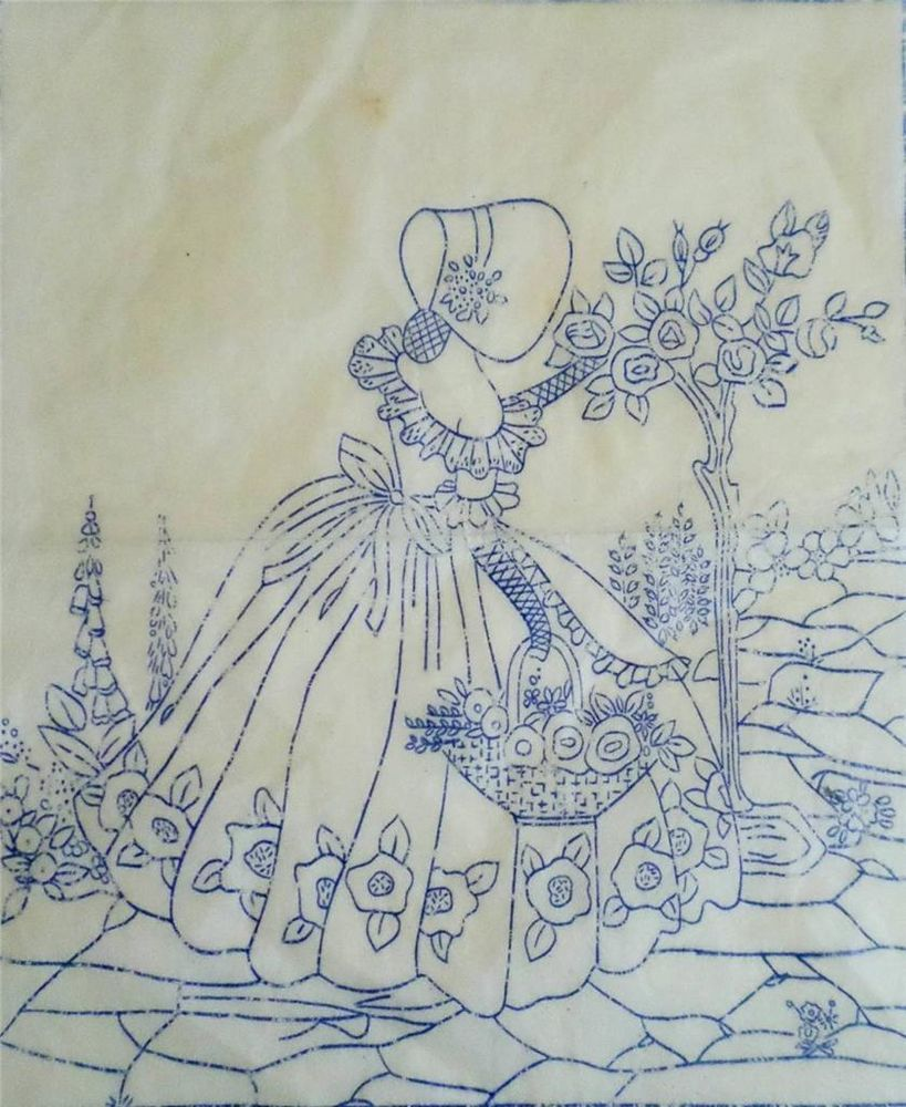 Vintage transfer crinoline lady for hand embroidery