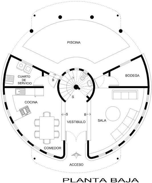Planos circulares planos de casa circular planos de for Planos para casas gratis