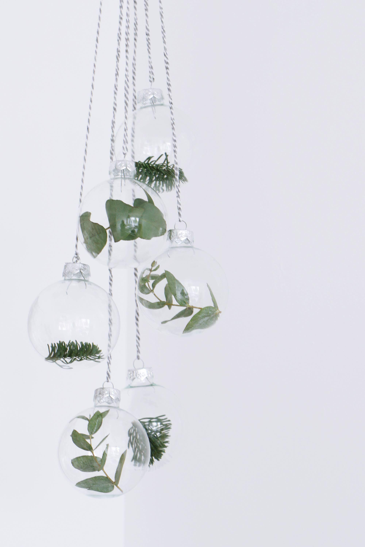 Glas Weihnachtskugeln Mit Eukalyptus, Deko Weihnachten Mit Eukalyptus.  Skandi Stil.