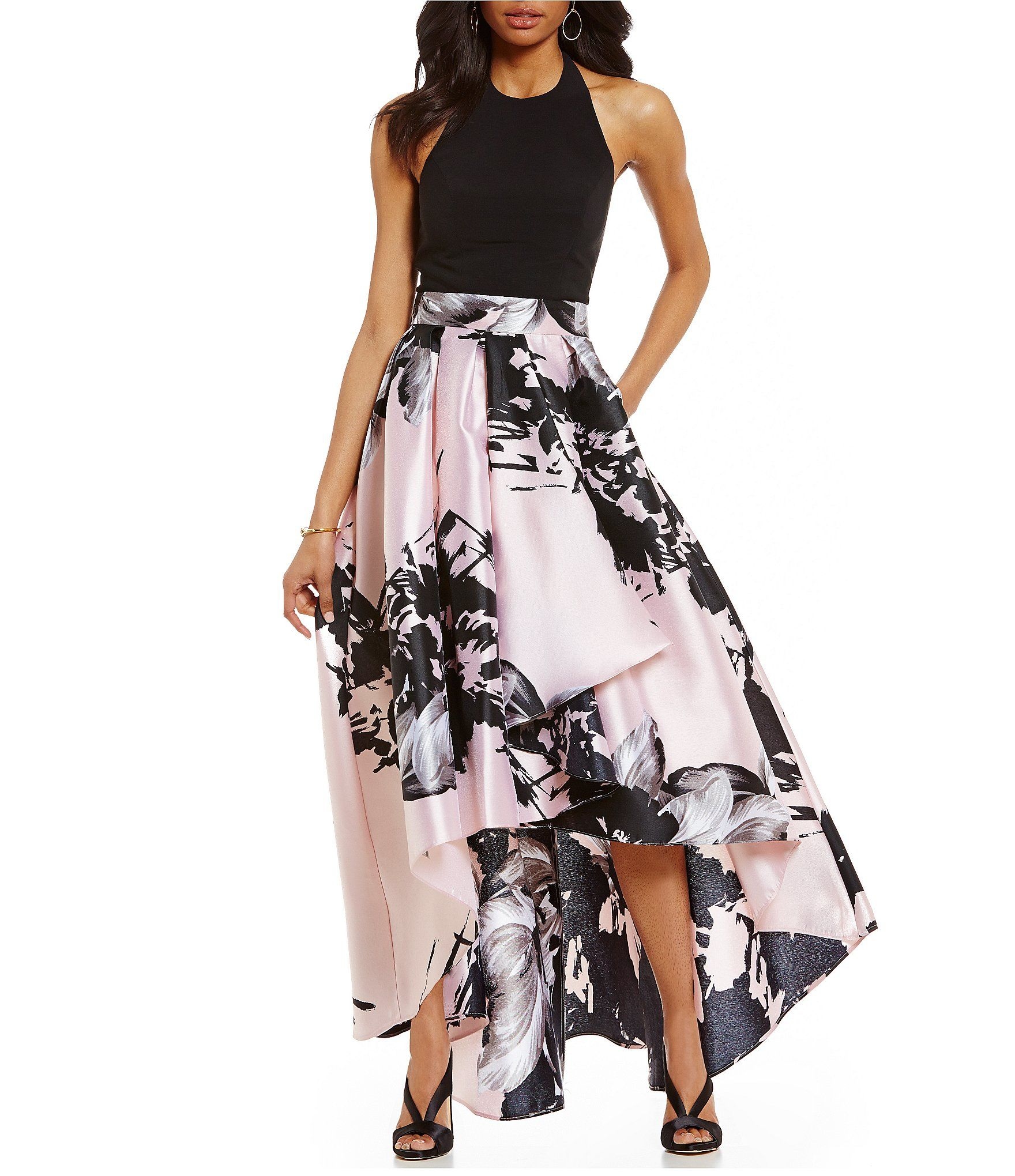Ignite Evenings Halter Floral-Print Hi-Low Dress #Dillards ...