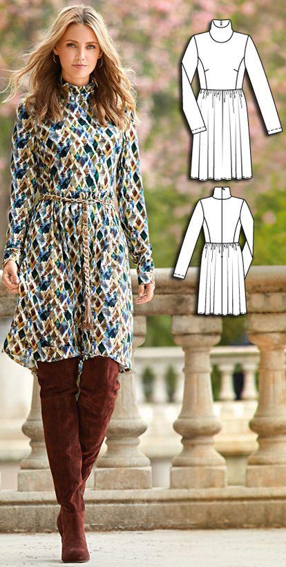 Polo Neck Dress Burda Sep 2016 #113  http://www.burdastyle.com/pattern_store/patterns/polo-neck-dress-092016