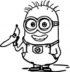 Minions Coloring Pages With Banana Coloringstar Minion