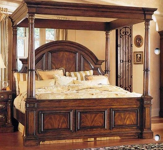 Mcferran B6002 Ck Tuscan Rich Brown Solid Hardwood: Canopy Bedroom Sets, Master Bedrooms Decor, Bed