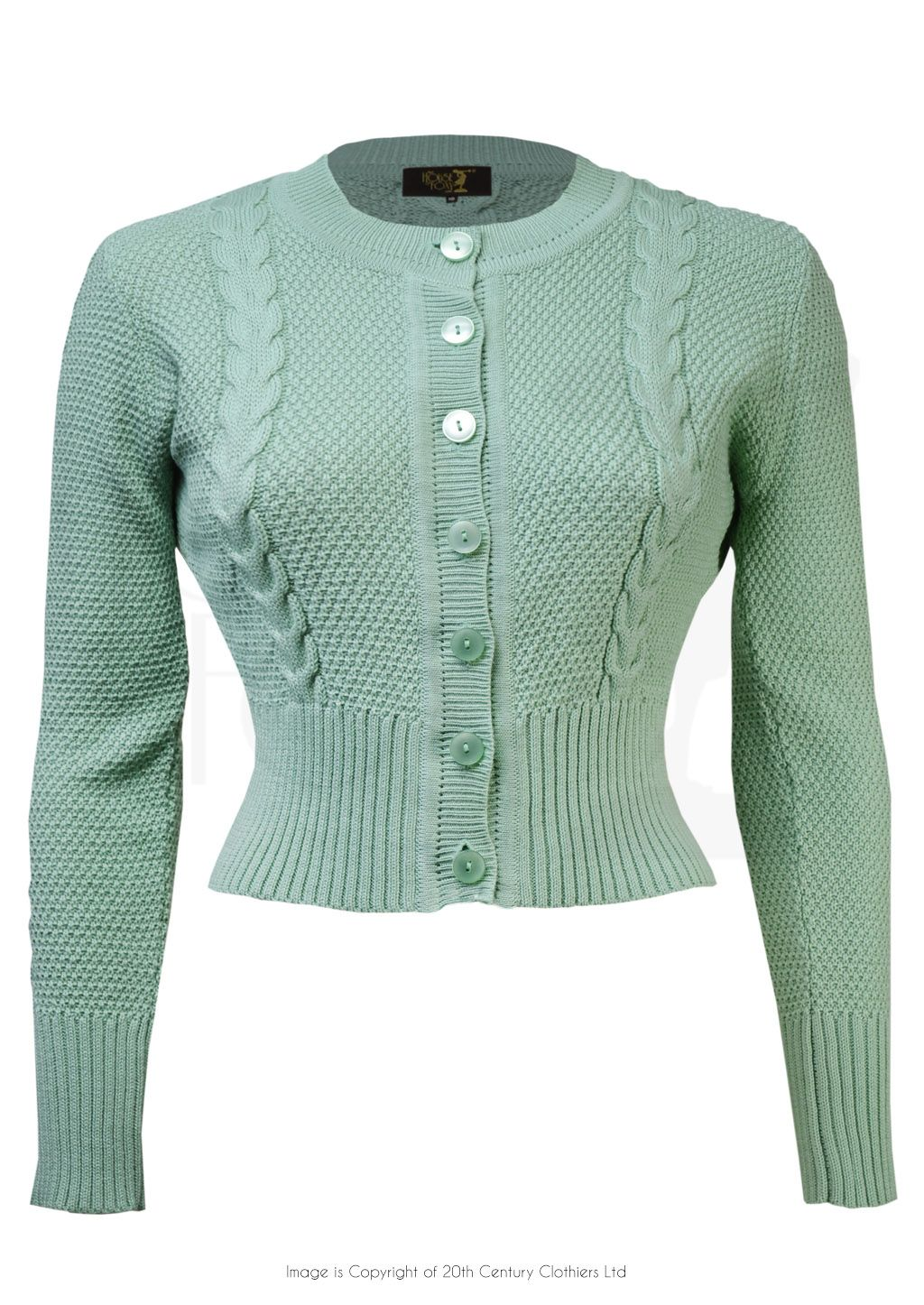 Vintage Style Cable Knit Crop Cardigan In Seafoam Green Vintage Fashion Cropped Cardigan Knit Dress Pattern