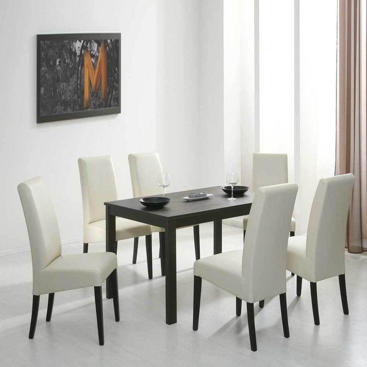 Tischgruppe Mit Dunkelbraunem Tisch Beige Polsterstuhle 7 Teilig