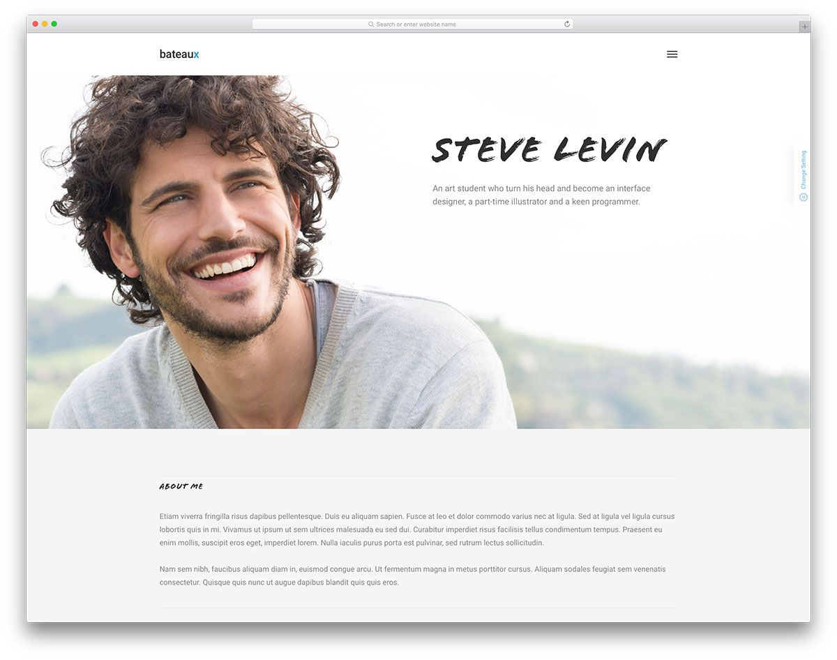 Bateaux Minimal Resume Vcard Website Template  Personal Resume Websites