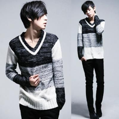 Mens sixth v-neck thin pullovers
