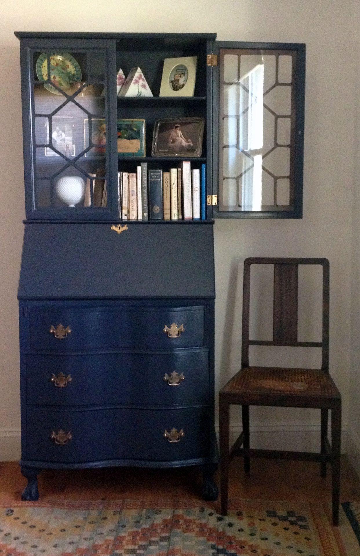 Navy Blue Secretary Gold Interior Would Be Gorgeous Furniture Painted Secretary Desks Vintage Desk