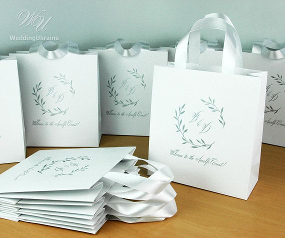 35 Wedding Monogram Welcome Bags With Satin Ribbon Handles