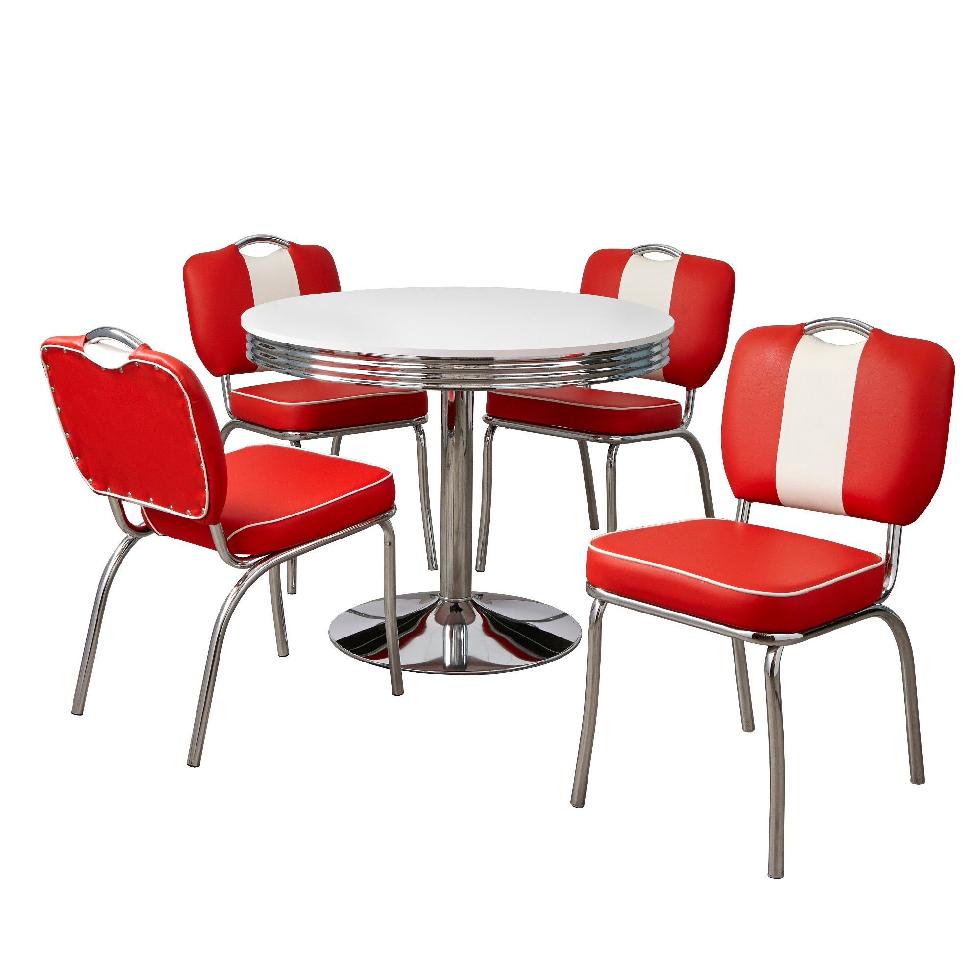 5pc Raleigh Retro Dining Set White Red Buylateral 5 Piece