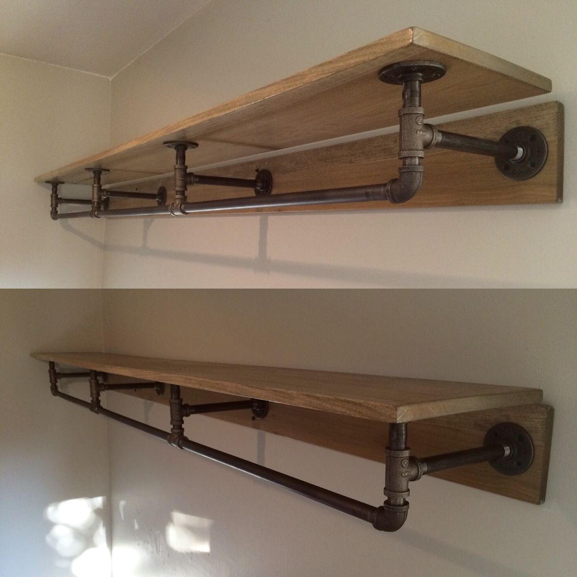 Pipe shelving. Made from metal piping and stained wood