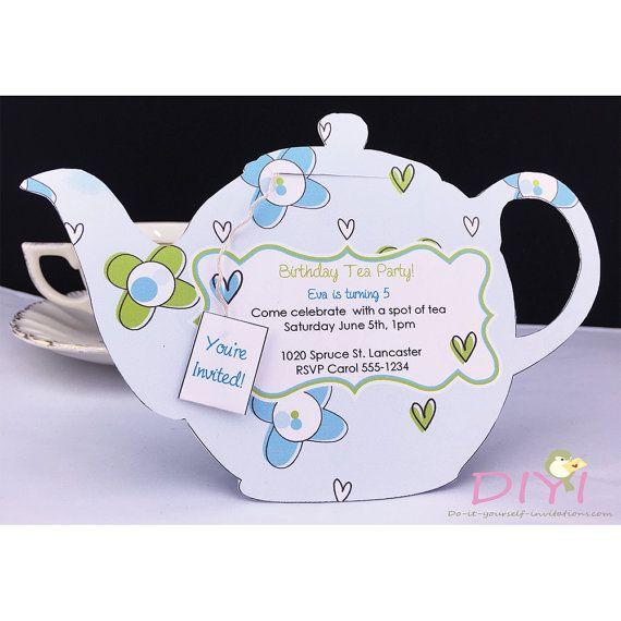 Kitchen Tea Invitation Templates Free Download: Printable Tea Party Invitation- Bridal Tea Party