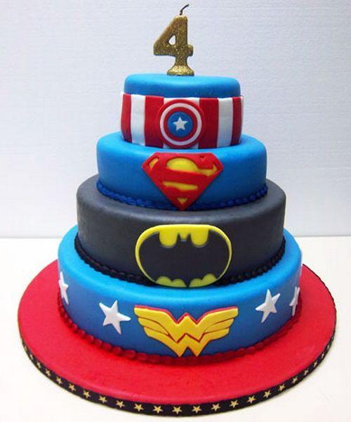 Super hero birthday cake Maybe do hulk at the bottom rather than