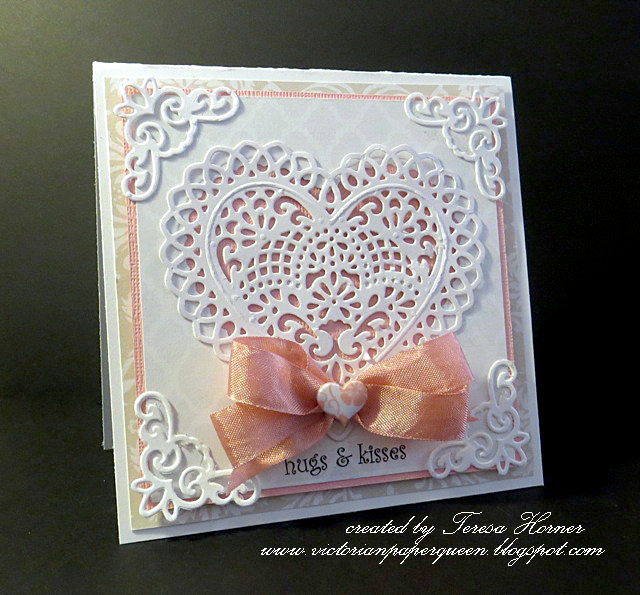 Hugs and Kisses Valentine Card - Scrapbook.com.  Spellbinders lace heart