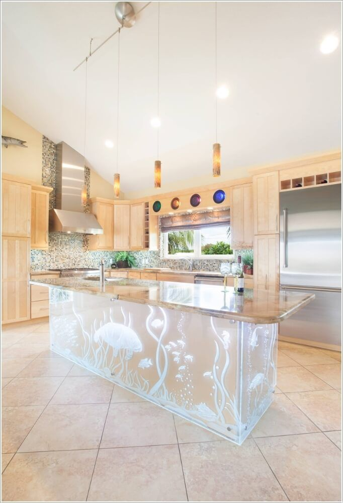 Install An Etched Glass Kitchen Island With Sea Creature