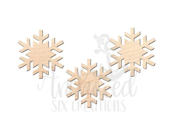 Snowflake - Laser Cut Out - Door Hanger - Unfinished Wood Cut Out - Laser Shapes #hangersnowflake