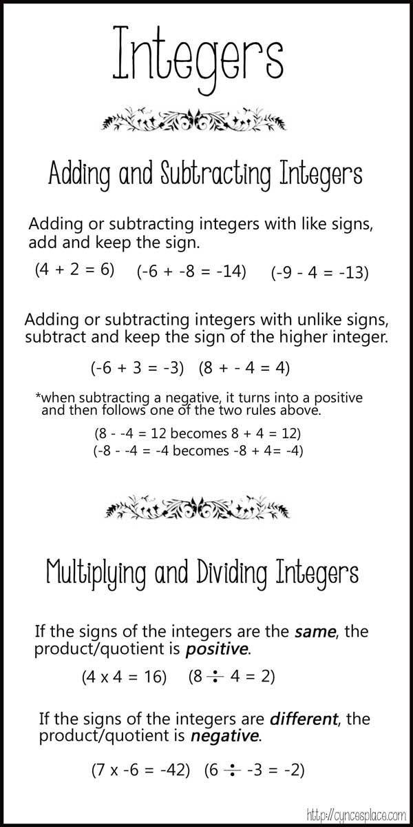 Positive And Negative Integer Chart Cynce S Place Studying Math Math Integers Education Math 8th grade math worksheets integers