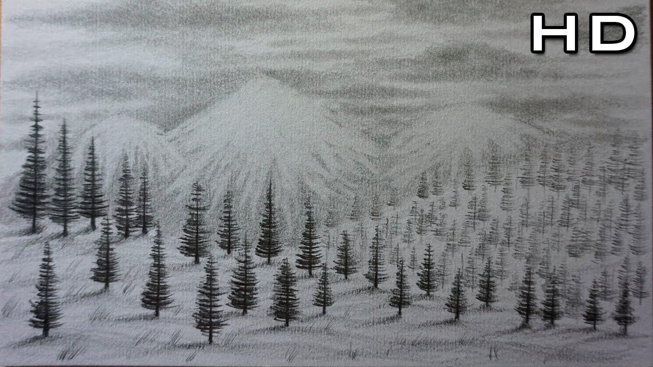 Como Dibujar Un Paisaje De Montanas Y Nieve A Lapiz Paso A Paso Paisaje A Lapiz Paisajes Dibujos Montanas Dibujo