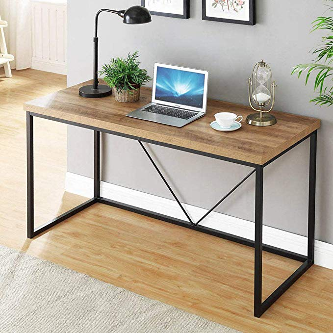 Amazon Com Foluban Rustic Industrial Computer Desk Wood And Metal Writing Desk Vintage Pc Tabl Metal Writing Desk Industrial Computer Desk Wood Computer Desk