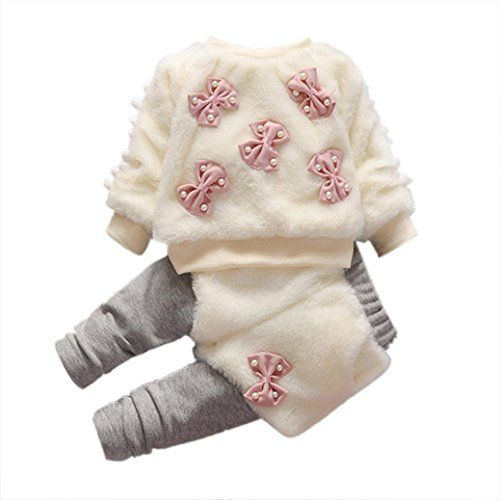 Baby Winter Coat | Gift!! 1Set Baby Infant Girls Cartoon Woolen Furry Winter Warm Thick Coat +Pants Clothes (9M, White)