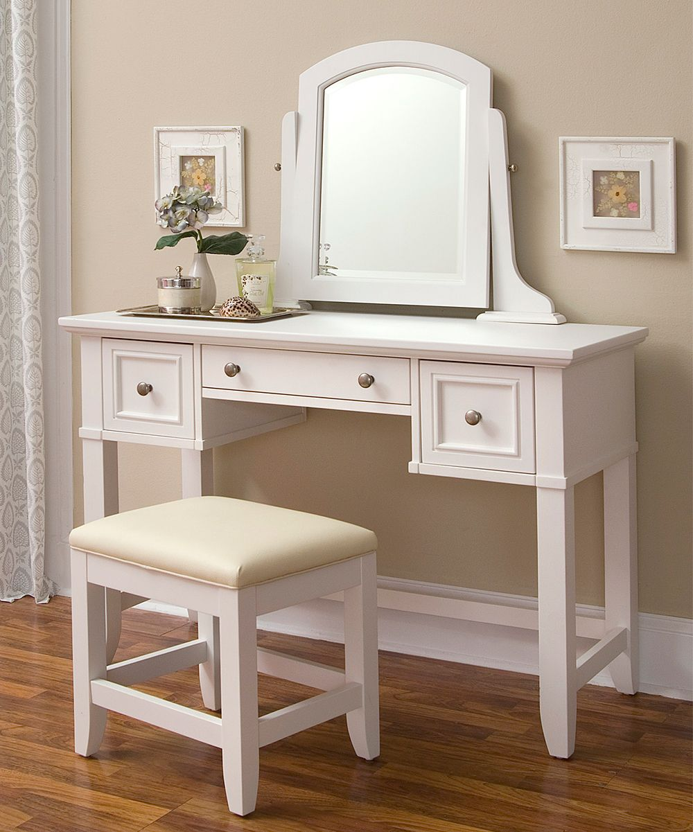 Home Styles Naples Vanity Table Vanity Table and Bench Set White Vanity Table Set & http://www.zulily.com/p/white-naples-vanity-table-bench-183333 ...