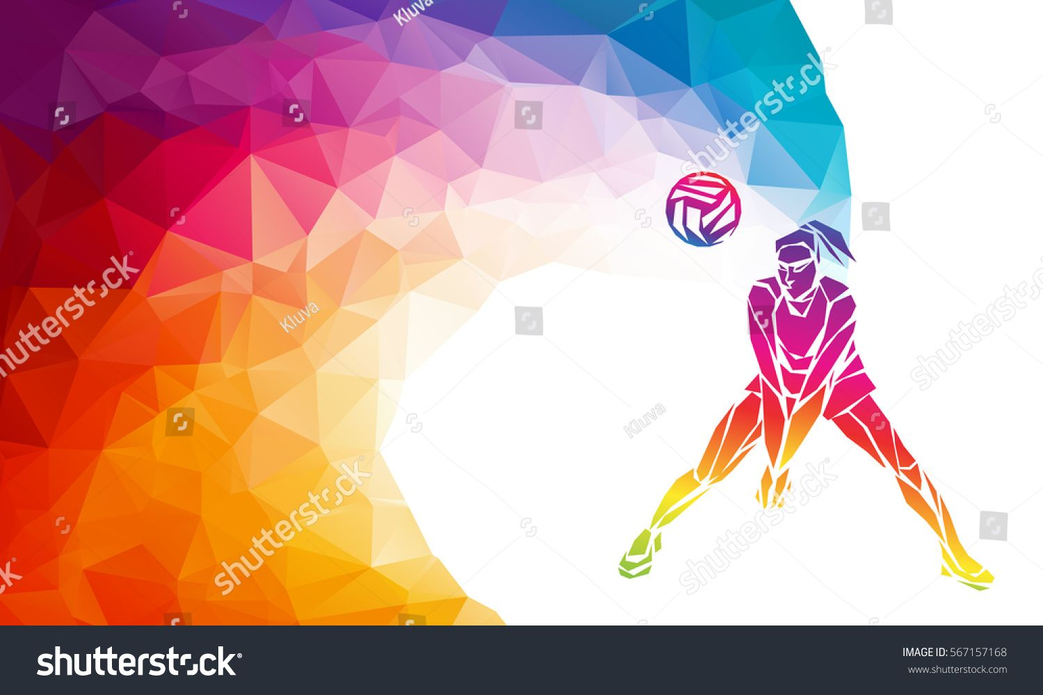 Creative Silhouette Of Volleyball Player Receiving A Ball Beach Sport Colorful Vector Illustration Or Banner Banner Template Beach Sports Vector Illustration