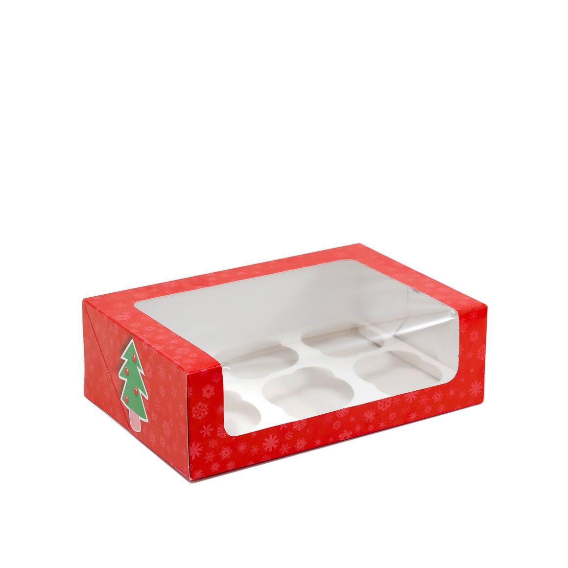 Caja para 6 cupcakes con motivos navide os todo para - Cajas con motivos navidenos ...