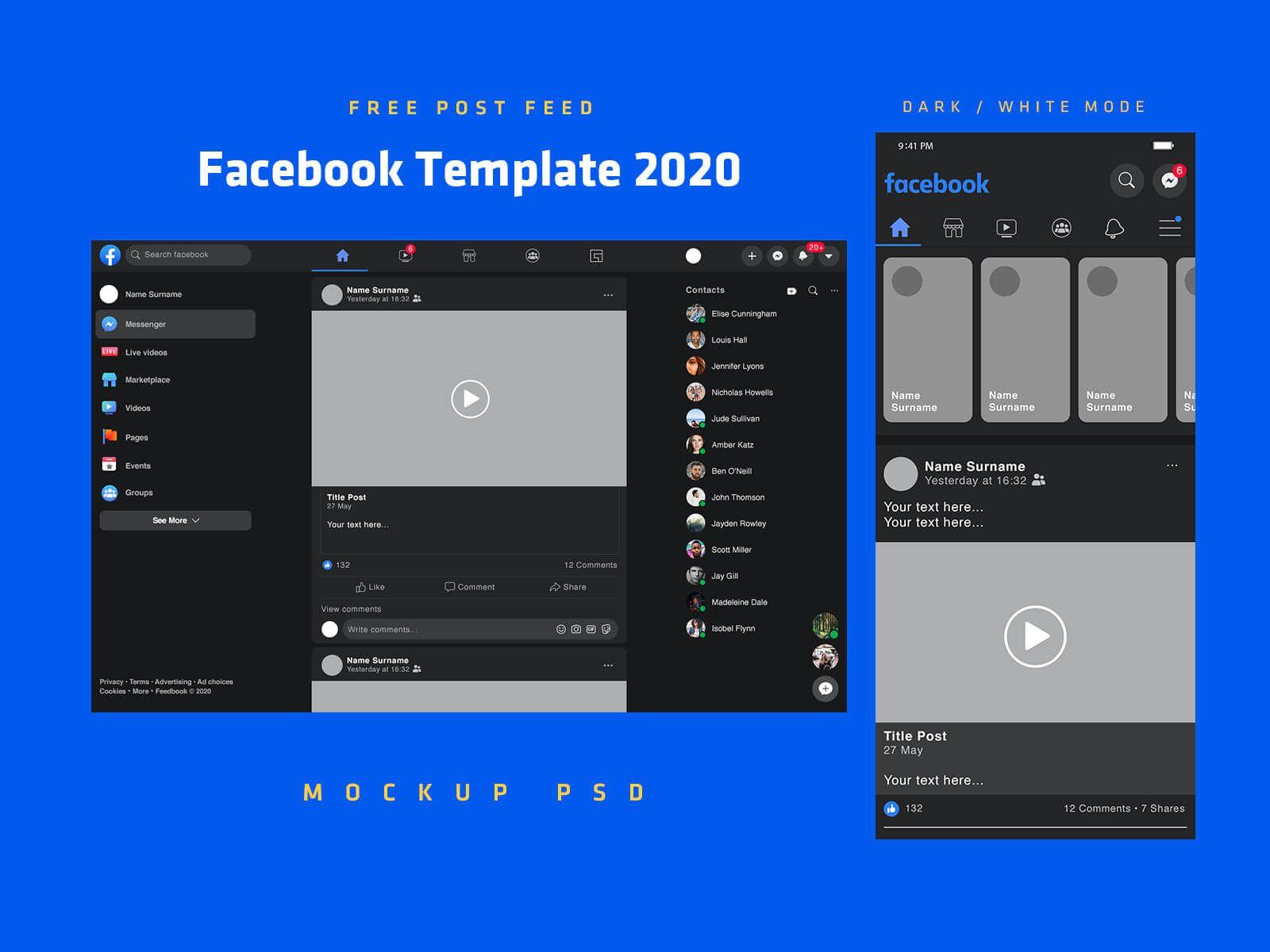 Free Mobile Desktop Facebook Post Feed Template 2020 Mockup Psd Set Good Mockups Mockup Psd Facebook Post Template Facebook Posts