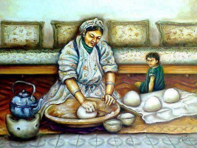 Painting Of Libyan Woman Making Home Made Bread لوحة فنية لأمرأة تخبز الخبز Indian Folk Art Art Moroccan Art