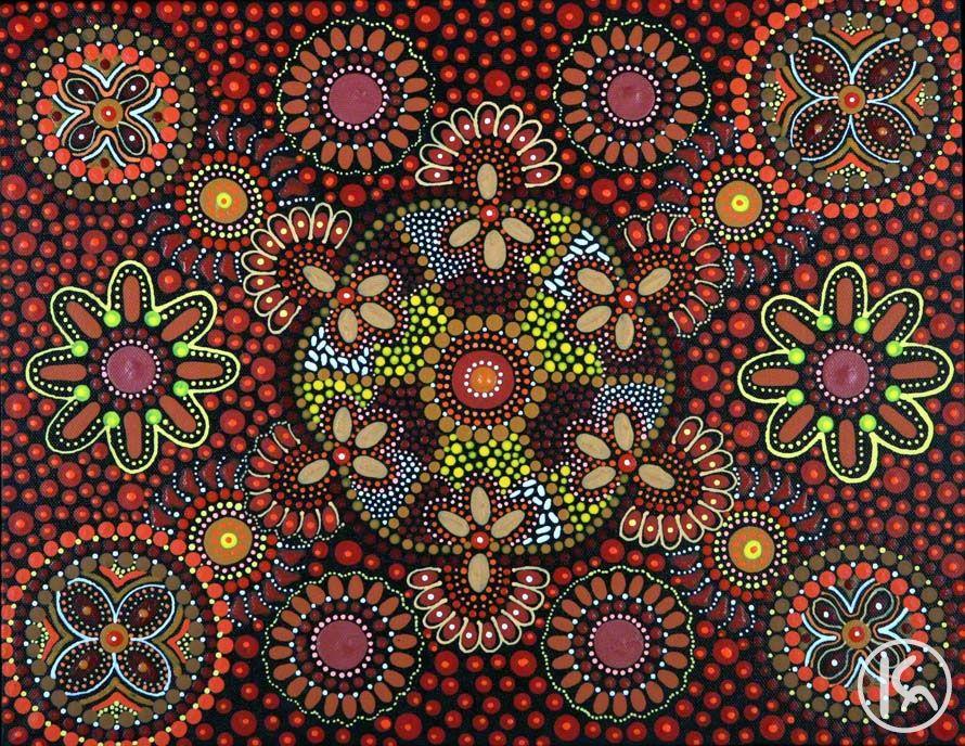 Wild Flowers 08111361 Mary Oliver Aboriginal Art Australian Aboriginal Art Aboriginal Art Dot Painting