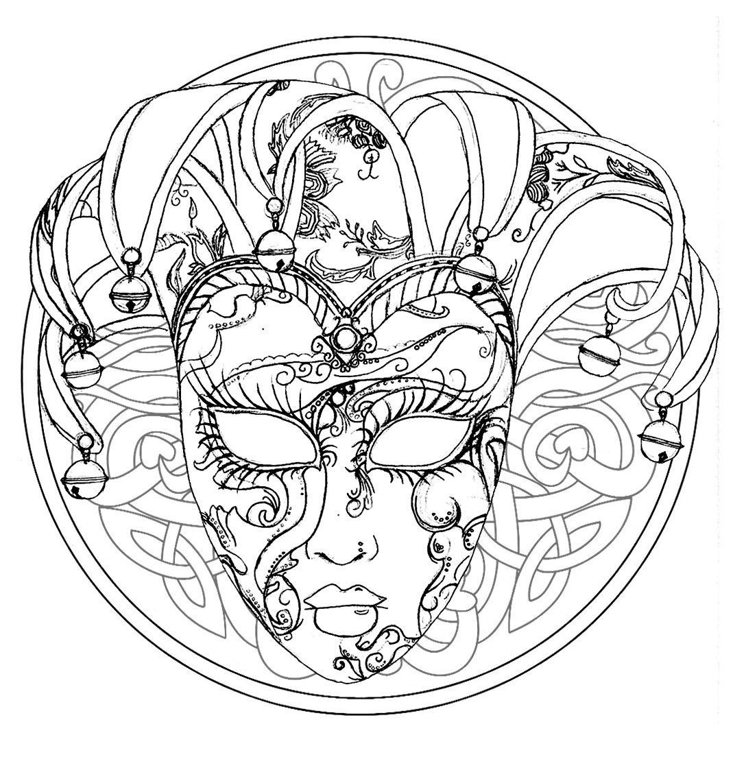 Coloriage Carnaval Cm.Mandala Sur Le Theme Du Carnaval De Venise A Partir De La