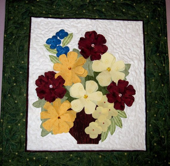 Quilted wall art Vase of Flowers in 3D by KellettKreations | Just ...