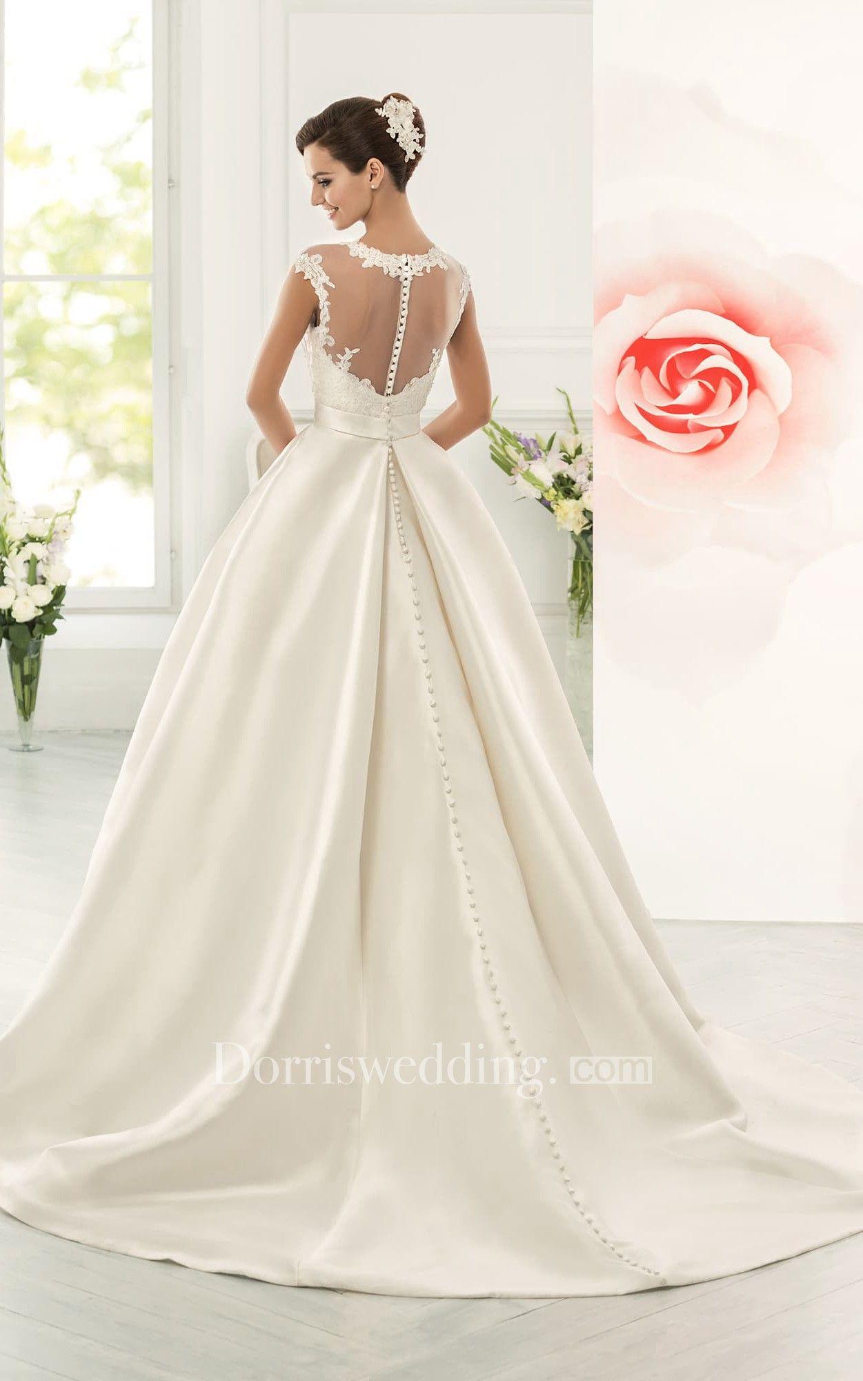 39eaa77ca Jeweled Neck Cap Sleeve A-line Satin Wedding Dress With Lace Bodice -  Dorris Wedding