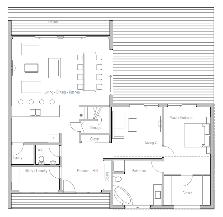 Logical House Plans Part - 20: Small House Plan With Four Bedrooms, Two Living Areas, Efficient And Logical  Floor Plan