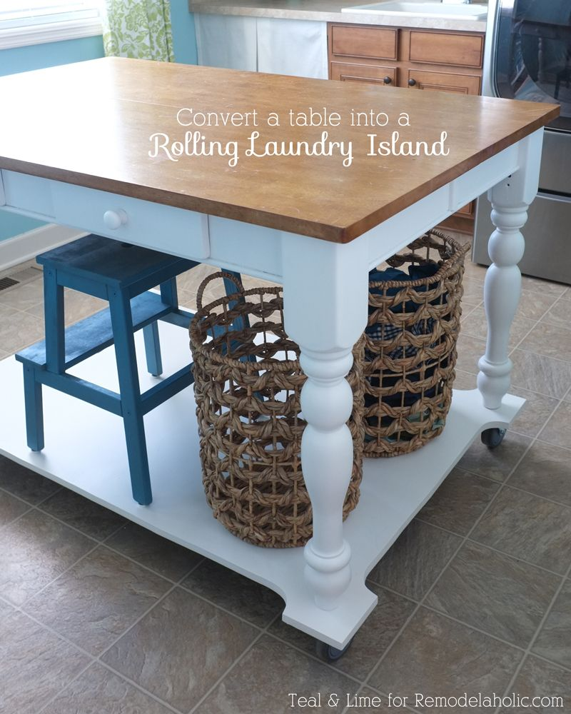 How To Turn A Table Into A Rolling Island Diy Kitchen
