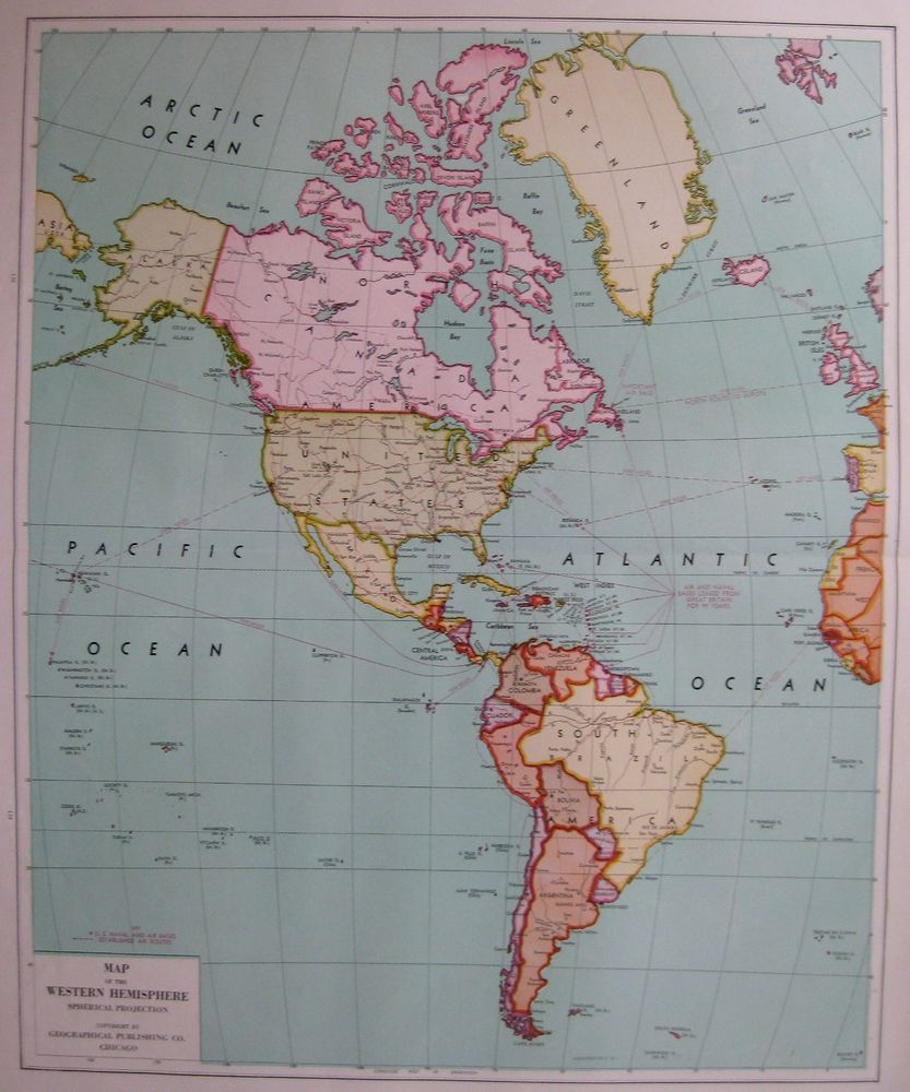 1946 Vintage WORLD Map WESTERN HEMISPHERE Map of the World Rare Size ...