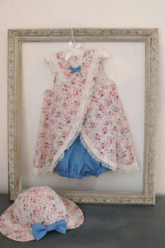 Summer Girl Dress 2T / Pink and Blue Shabby by GoldilocksWardrobe