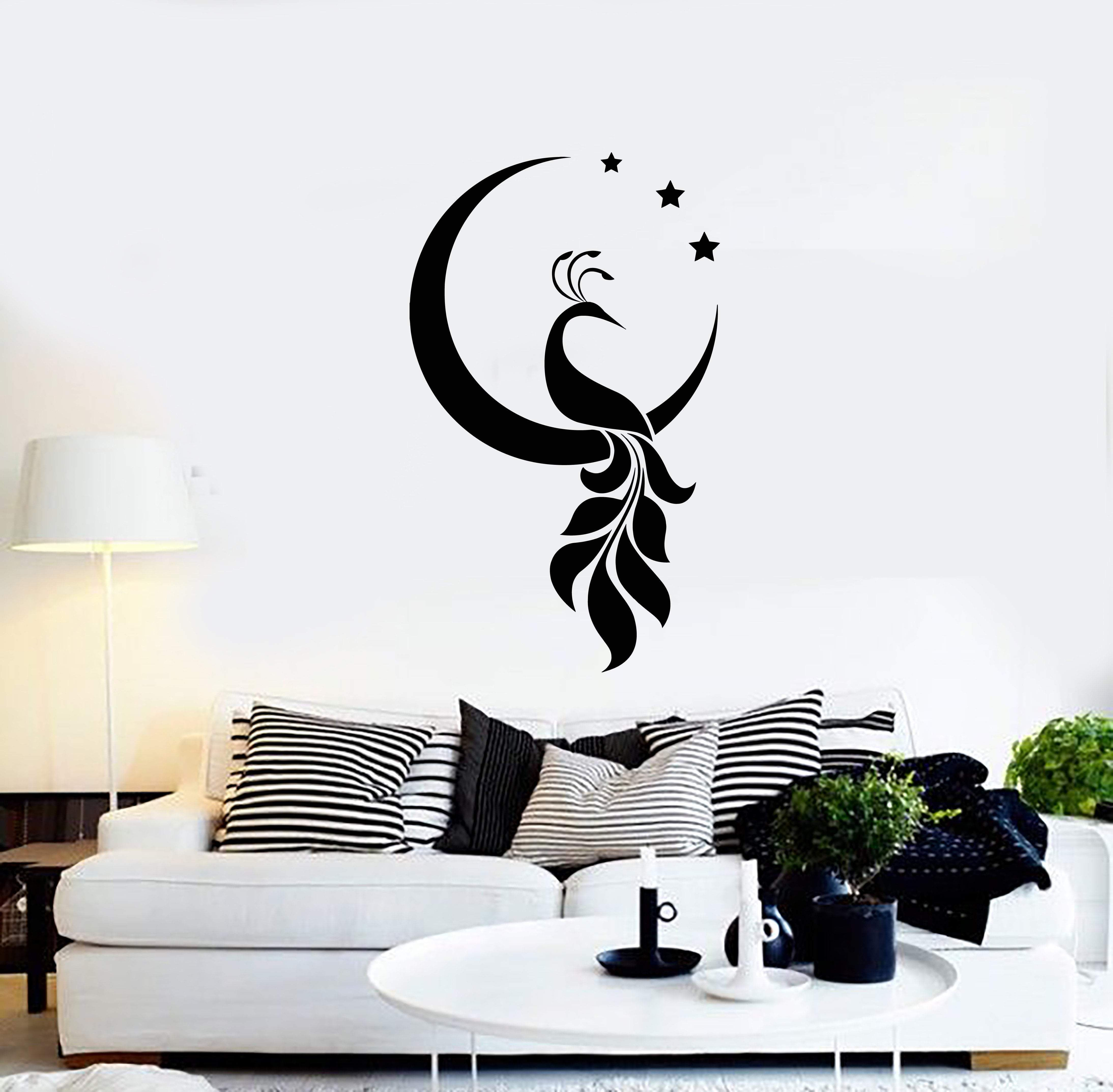 Vinyl Wall Decal Peacock Bird Crescent Stars Decor Room Home Interior Stickers Mural Ig5699 Room Wall Painting Wall Painting Decor Diy Wall Painting