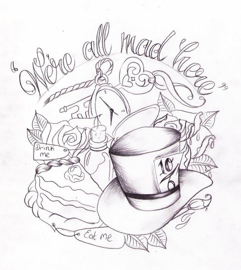 Pin By Amber Enlow On Tattoo Flash Wonderland Tattoo Disney Tattoos Alice In Wonderland Drawings