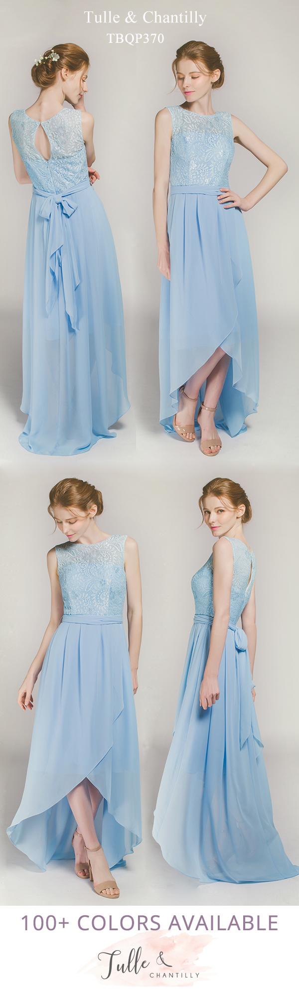 c868bd0c2 Sleeveless High Low Lace and Chiffon Bridesmaid Dress TBQP370 ...