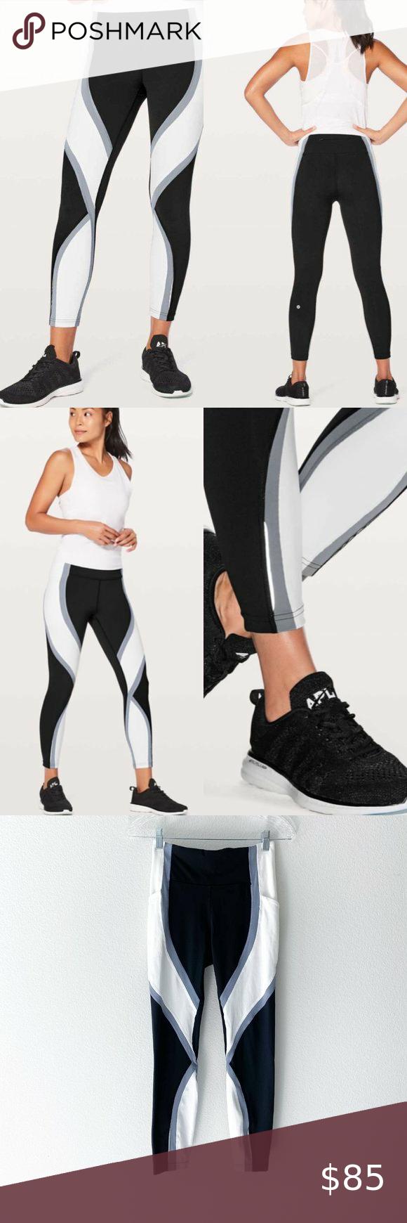 Lululemon Wild Twist 7 8 Tight Leggings Black 25 Lululemon Women S Sz 4 Wild Twist 7 8 Leggings Black Magnet Grey White In 2020 Black Leggings Tight Leggings Tights