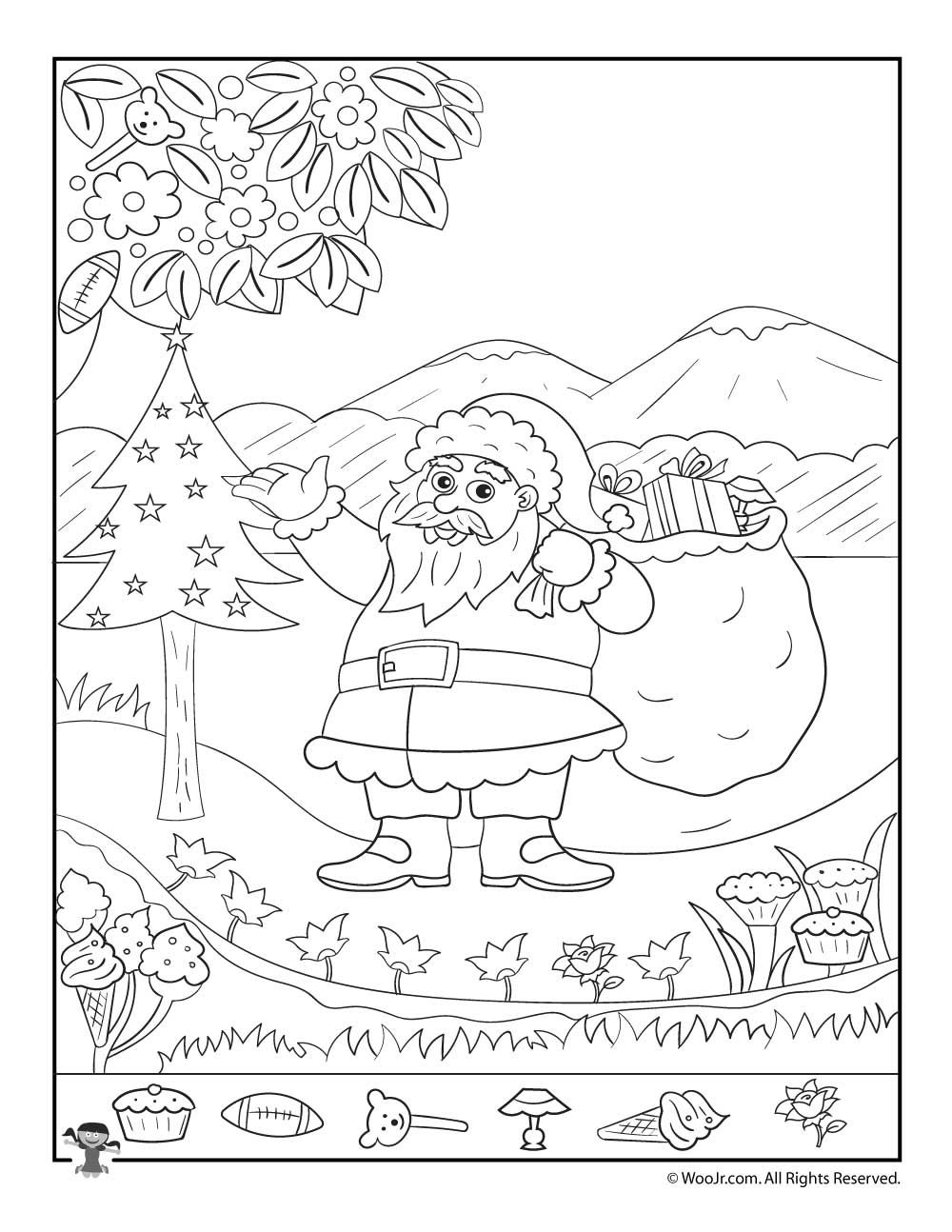 Santa Claus Christmas Hidden Picture Printable Page | Tareas ...