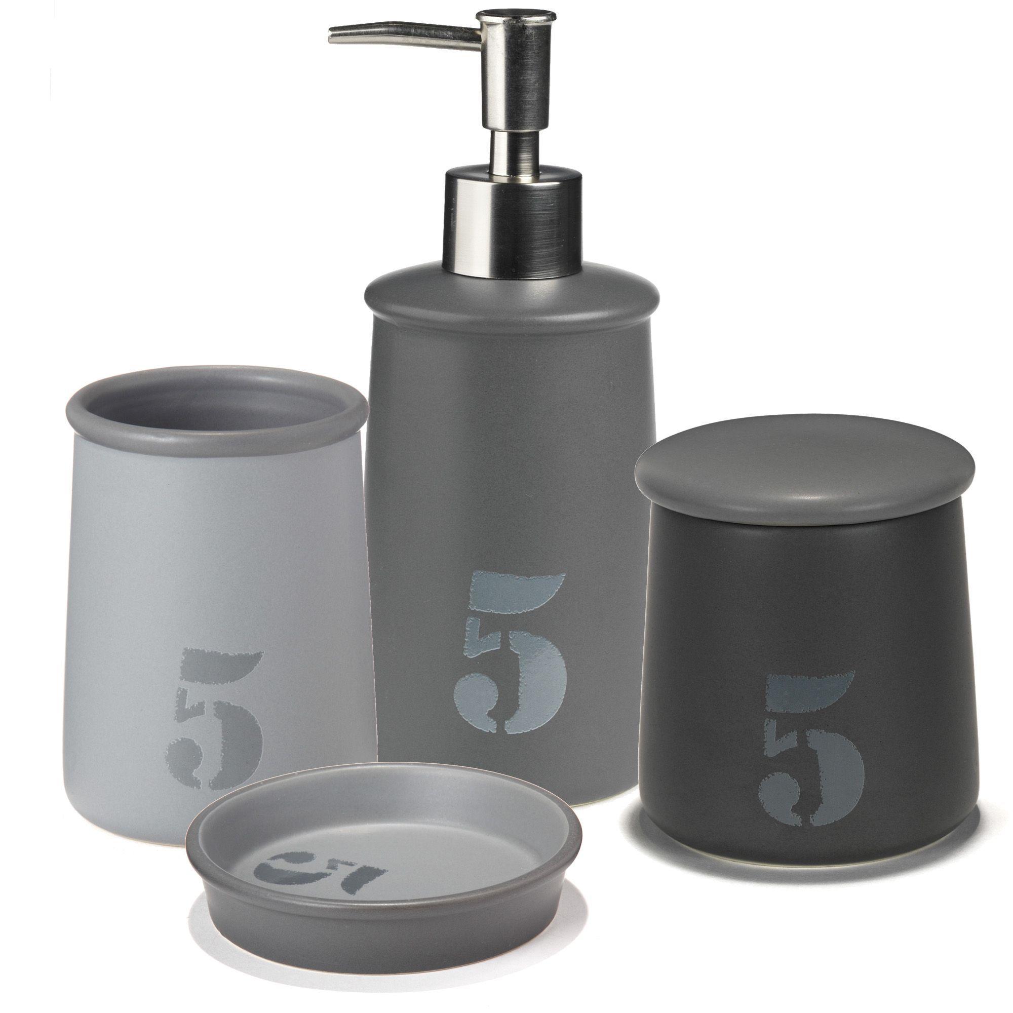 Ensemble d 39 accessoires de salle de bains gris atelier bain sets et flacons accessoires de - Accessoire salle de bain gris ...