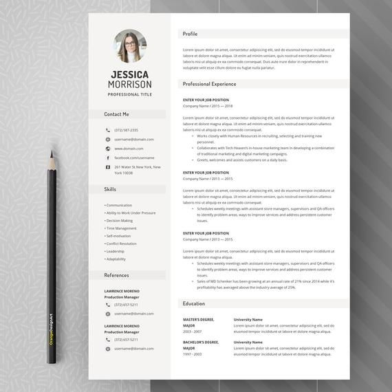 simple resume template  clean resume design  two page